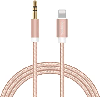 Aux Cable Compatible with iPhone 8, Yeebline Phone to 3.5mm Male Stereo Audio Adapter [Aluminum Shell, Nylon Braided] Trusted Car Stereo Aux Cord - Pink