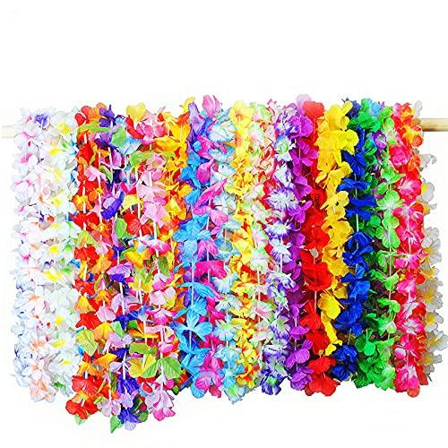 Collar Guirnalda Fiesta Hawaianos,36 Piezas Leis Coloridas Flores Arco Iris con Volantes,Tropicales Luau Pulsera para Decoraciones Vestido Tema Verano,Suministros Fiesta Cumpleaños Vacaciones Playa