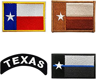 4 Pieces Set Texas State Flags Embroidered Iron on Sew on Patch Moral Badge Normal/Blue Line/Desert
