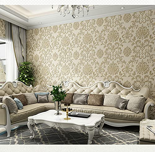 Mcuties wandtapete 3D Embossed Texture Wall Paper Luxury Natural FiberNon-Woven Wallpaper Living Room Background Wall10mx53cm