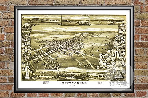 Ted's Vintage Art Gettysburg Pennsylvania 1888 Vintage Map Print | Historic Adams County, PA Art | Digitally Restored On Museum Quality Matte Paper 18' x 24'
