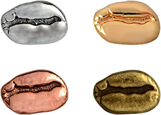 MYOSPARK 4pcs Coffee Bean Brooch Lapel Pin Clips Denim Collar Shirt Badge Jewlery Gift
