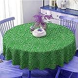 Grüne Party Runde Tischdecke Doodle Style Blätter in verschiedenen Formen, abstrakt, frischer Garten, botanisches Laub, für Freunde, Durchmesser 99,1 cm, Limettengrün / Weiß