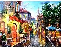DSJHK パズル大人のパズル1000ピース木製絵画雨の町の絵画美しい景色組み立てゲーム子供のための教育減圧おもちゃティーンエイジャーパズルジグソーパズル