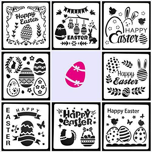 Kalolary Plantillas de pascua, 8 piezas, plásticas para dibujar, plantillas, escala, plantillas,...