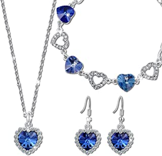 QIANSE ♥ Heart of Ocean ♥ Titanic Jewelry Set Made with Swarovski Crystals - Eternal Classic!