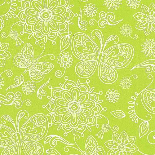 FSC Recycling Seidenpapier Summertime maigrün 75 cm x 300 m | 40 g/m² Blumenpapier | auf Rolle | HUTNER