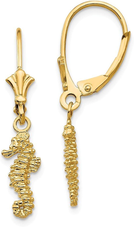 Beautiful Yellow gold 14K Yellowgold 14K MINI 3D SEAHORSE LEVERBACK EARRINGS (3 OF 3)