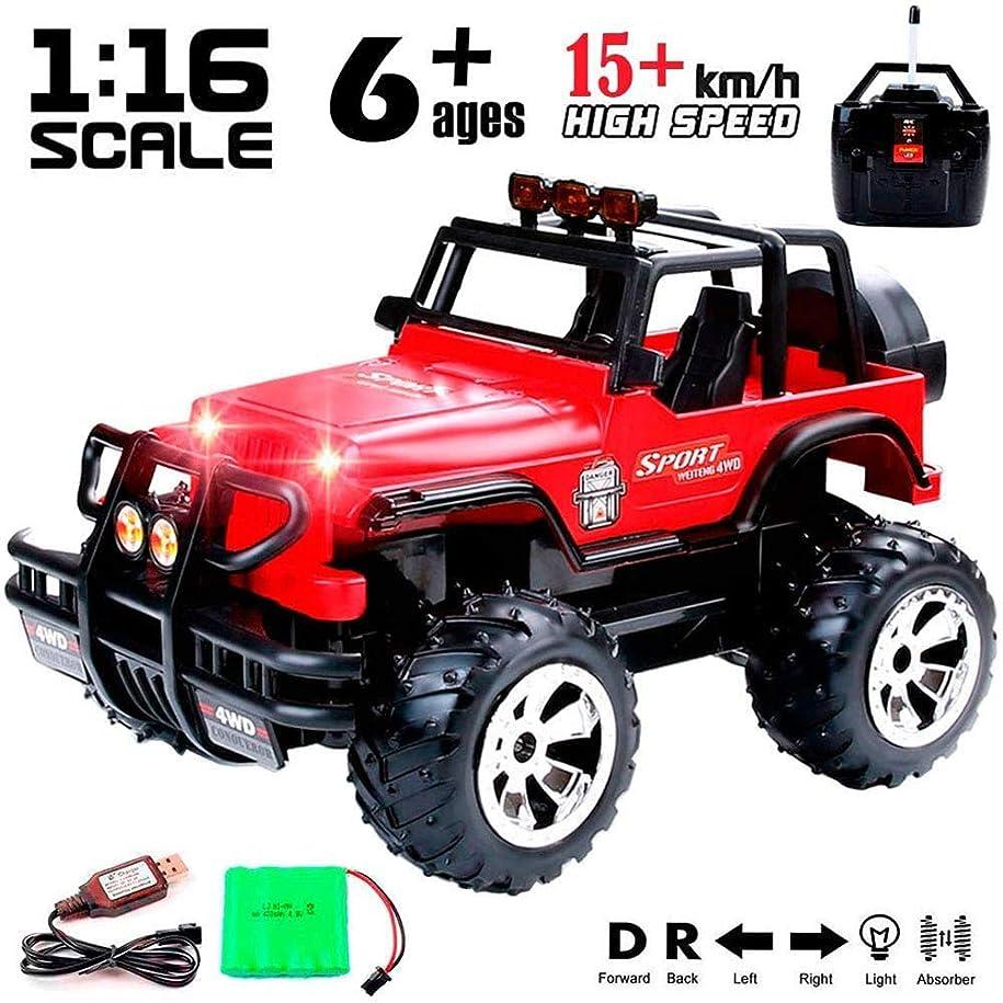 発掘ポーター被る1:16スケールRCカーキッズ4WD 4X4 16 KM/Hリモートコントロールモンスタートラック全地形オフロードジープ車、充電式、子供と大人のための最高の贈り物のために,赤
