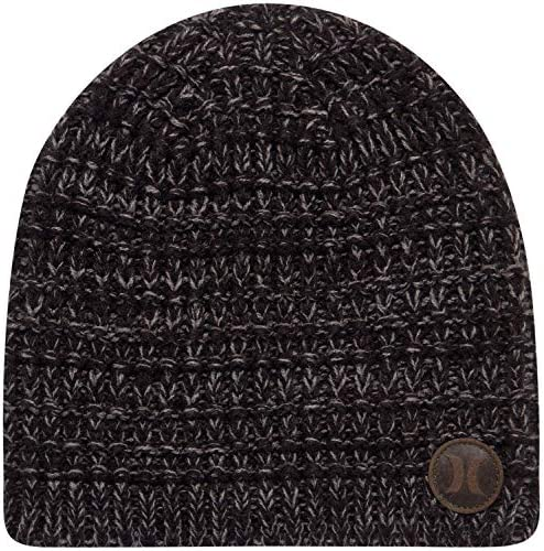 Hurley Men s Winter Hat Loose Knit Marled Beanie Black product image
