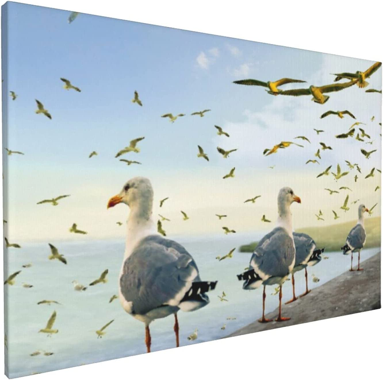 Canvas Wall Art Great interest Oil Painting Seagulls Office Seaside Home low-pricing Decor