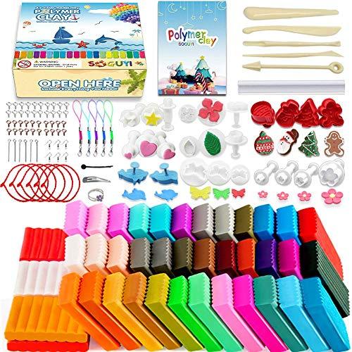 SOGUYI Modelliermasse 36-Farben Luftgetrocknetes, Superleichtes, Weiches, Magisches Modelliermaterial DIY Bastelspielzeug aus Plastilin