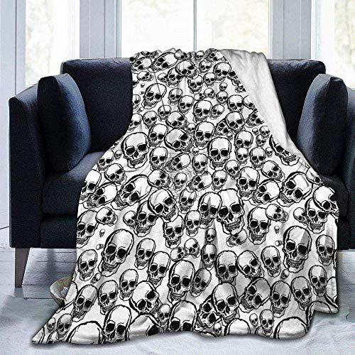 Manta de forro polar, diseño de calaveras en blanco y negro impreso, ligera, supersuave, cálida, cómoda, manta de forro polar para sofá, cama, sofá o sillón, 152 x 127 cm