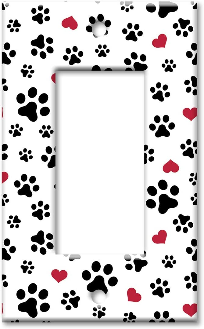 Art Plates 1 Gang Decora Gfci Wall Plate Dog Paws And Hearts Toss