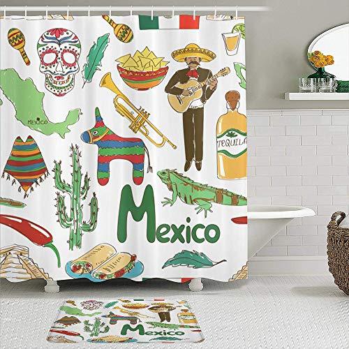 TONKSHA 2-teiliges Duschvorhangset mit Rutschfester Badematte,Mexikanischer Spaß...