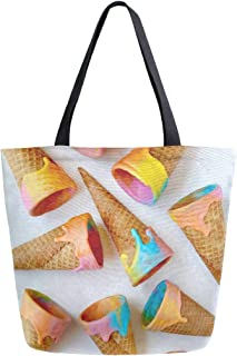 Reusable Grocery Shopping Bag Unicorn Ice Cream Cones Just Taste Womens Canvas Tote Bags Foldable Shoulder Handbags