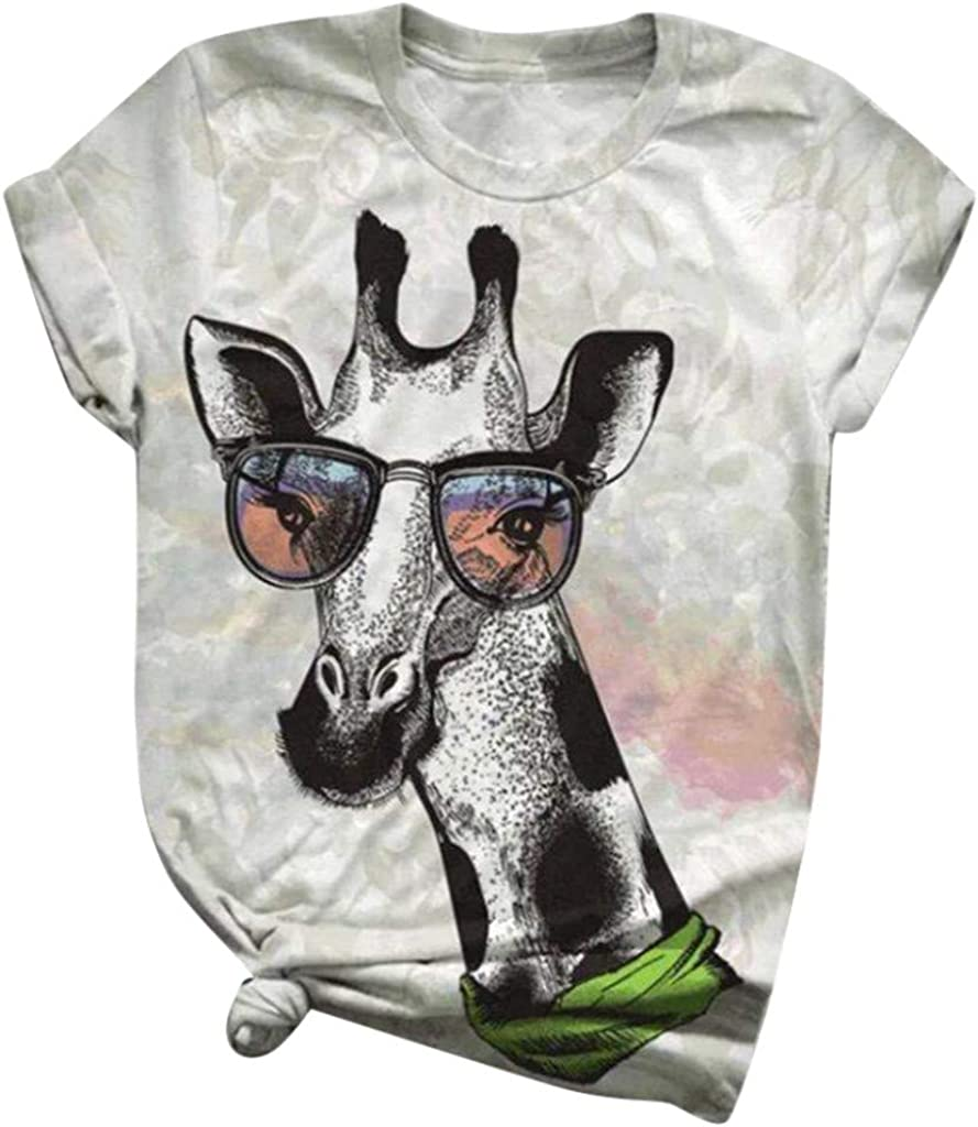 Aiouios Womens Summer Tops Funny 3D Animal Print Tee Plus Size Loose Shirts Casual Short Sleeve Tunic Tops and Blouses