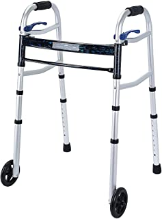 Health Line Massage Products Compact Folding Walker for Seniors, Foldable Walker Supports up to 350 lbs with 5 inch Wheels...