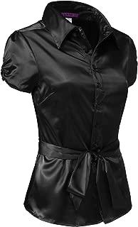 J. LOVNY Womens Lightweight Short Cuff Sleeve Button Down Office Satin Silk Shirt with Belt (S-3XL)
