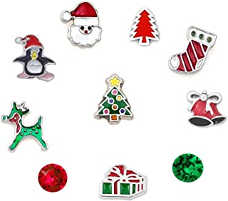 DemiJewelry Christmas Tree Reindeer Santa Clause Floating Charms Set for Glass Living Locket