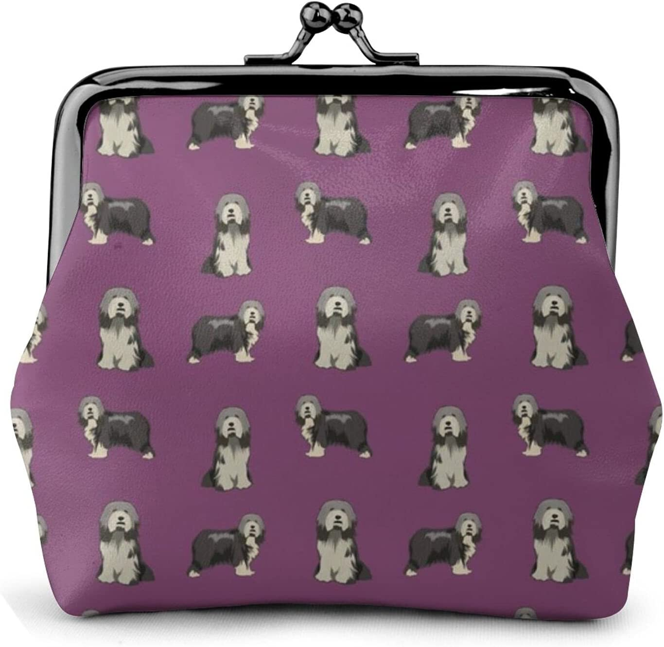 Bearded Collie Dog 298 Women'S Wallet Buckle Coin Purses Pouch Kiss-lock Change Travel Makeup Wallets, Black, One Size