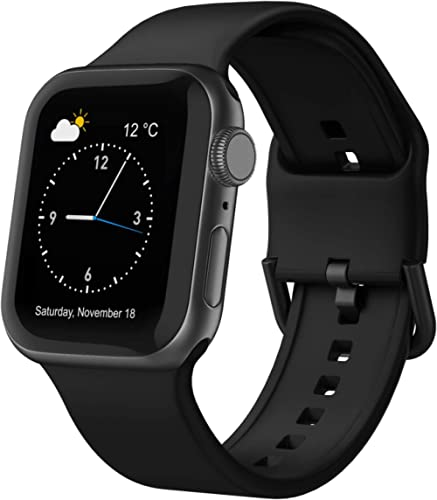 Adepoy Compatible with Apple Watch Bands 44mm 42mm, Soft Silicone Sport Wristbands Replacement Strap with Classic Cla...