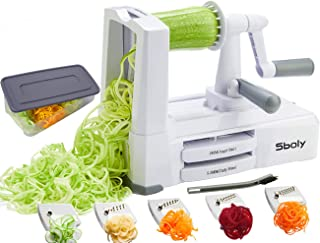 Vegetable Spiralizer Vegetable Slicer with 5 Blades, Zucchini Spaghetti Maker Zoodle Maker Veggie Pasta Maker, Strongest and Heaviest Duty Mandoline Slicer with Container, Lid, Brush