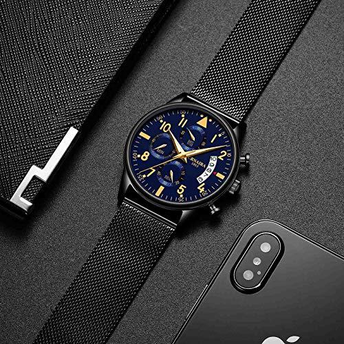 BDDLLM Reloj de Pulsera Nuevo Reloj Digital Minimalista de Moda para Hombre Reloj Negro Shell Gold Font Blue Mesh Belt