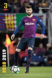 FC Barcelona - Soccer Poster (Gerard Pique #3 - in Action - Season 2018/2019) (Size: 24 inches x 36 inches)