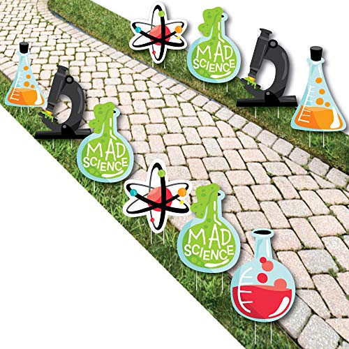 Big Dot of Happiness Scientist Lab - Beaker Atom Microscope Lawn Decorations - Outdoor Mad Science Baby Shower or Birthday Party Yard Decorations - 10 Piece