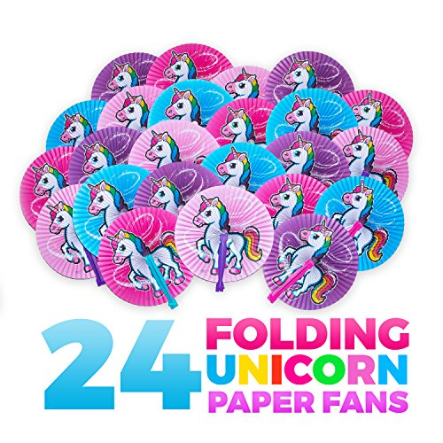 Unicorn Party Supplies: 24 Folding Unicorn Paper Fans - Variety Of Colors & Designs - Perfect For Any Unicorn Birthday Party Décor & Party Favors - Lifetime Replacement - M & M Products Online
