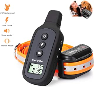 OWNPETS Dog Training Collar, Dog Shock Collar with Remote Dog Training Collar, 1640ft Remote Range, Pet Dog Shock Collar with Beep, Vibration and Shock Mode for Small Medium and Large Dogs
