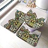 Alfombras de baño Alfombrillas Set 3 Piezas Paisaje Urbano, Ciudad Vieja Arte Retro con Apartamentos Edificio Ventanas Balcones Chimeneas
