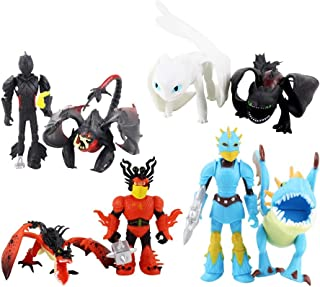 S.US 8pcs/Set How to Train Your Dragon 3 - Action Figures Model Light Fury/Night Fury (Toothless) Collection Decora Toys for Children