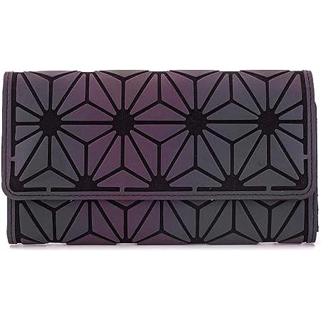 DIOMO Geometrische leuchtende Geldbörse, Regenbogen, holografischer Reißverschluss, Brieftasche NO.1, Medium,