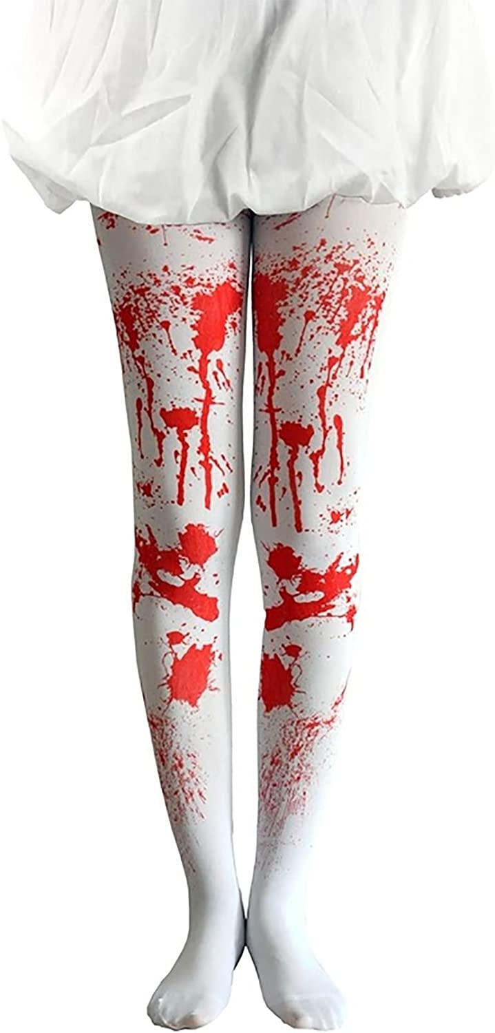 Rimi Hanger Womens White Bloody Tights Ladies Fancy Zombie Halloween Party Wear Accessories One Size
