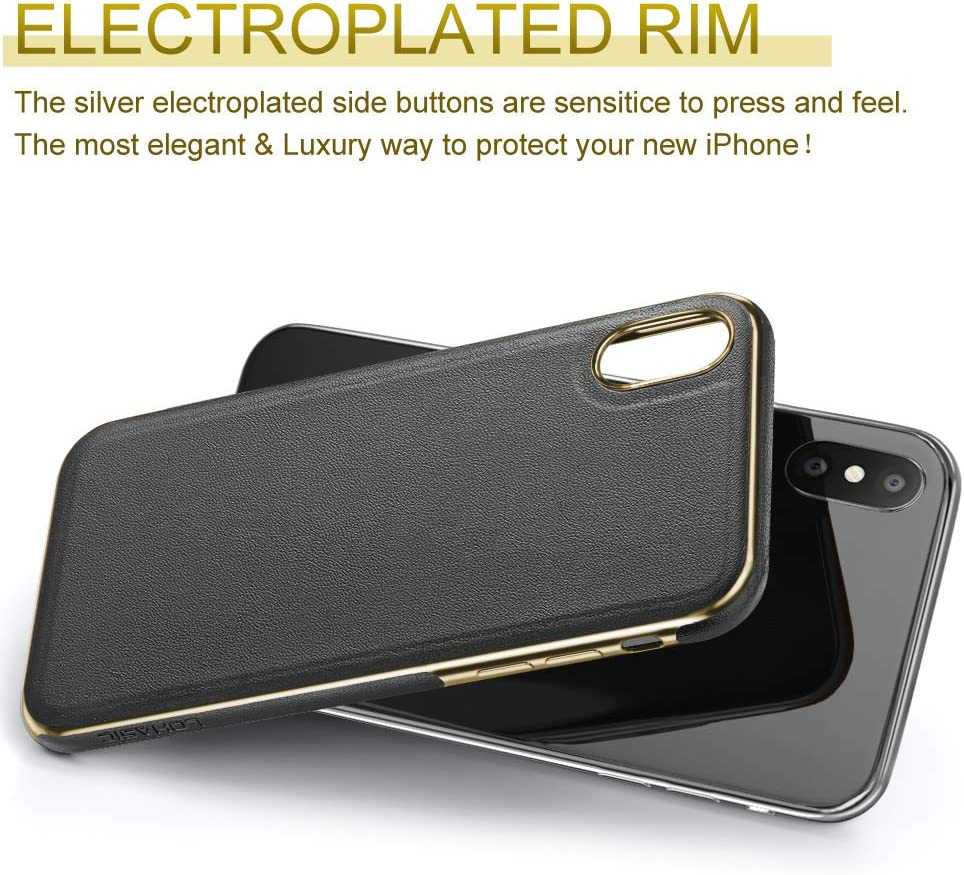 LOHASIC Leather Case for iPhone Xs Max, Luxury Slim Fit Flexible Soft Full Body Grip Bumper Shockproof Protective Cover Cases Compatible with iPhone Xs Max (2018) 6.5 inch - Black