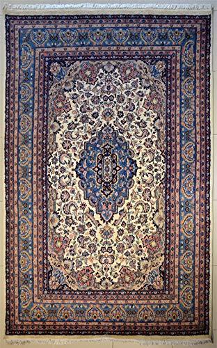 etnico Handgefertigter Kashan-Teppich, 208 cm x 307 cm, elfenbeinfarben, symmetrisches Design