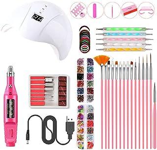 Nail Art Manicure Set, Acrylic Nail Tools Set, Portable LED UV Nail Lamps(White) with 3 Timers, USB Electric Nail Files, D...