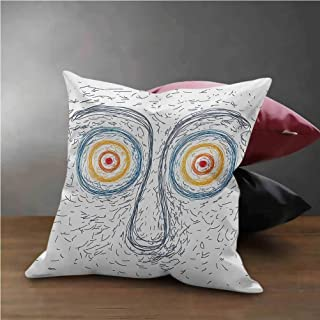 """Psychedelic Pillow Case Confused Man Portrait Human Face with Large Hypnotic Eyes Trance Hand Drawn Throw Pillow Case Cushion Cover Multicolor (18""""x18"""")"""