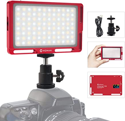 On Camera Light, Moman Magnetic 96 LED Video Lighting, CRI96+ Brightness and Bi-Color 3500K to 5700K Dimmable, 1cm Ultra Thin, Full Aluminum, Color Red