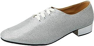 Zhhlinyuan Mens Latin Dance Shoes Round Toe Lace Up Leather Ballroom Tango Latin Dance Shoes