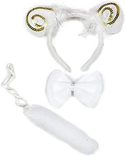 Petitebella Gold Sequins White Sheep Headband Bowtie Tail 3pc Costume
