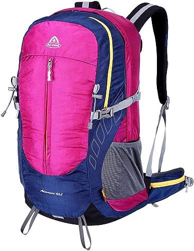 Sac à dos 45L Randonnée, Nylon multi-fonctionnelle Sports de plein air voyageling sac à dos Alpinisme Daypack, pour la pêche à vélo Camping