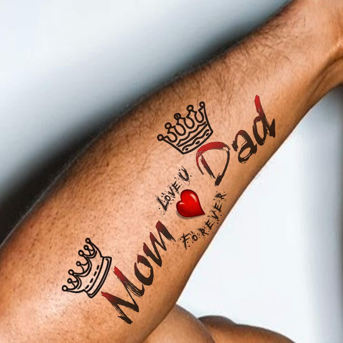 Voorkoms Mom Dad Tattoo Waterproof Men and Women Temporary Body ...