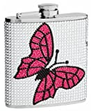 Top Shelf Flasks Premium Butterfly Hip Flask Made from Genuine Rhinestones, 6 oz.