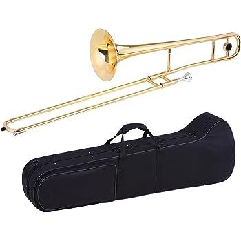 ammoon Trombone Tenore Ottone Oro lacca Bb Tone B Ottoni Piatto con Cupronickel Bocchino Pulizia Caso Stick