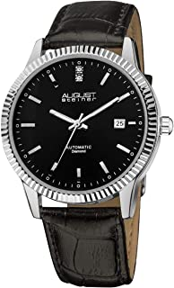 August Steiner Men's Automatic Diamond Dress Watch - Silver Coin Edge Case with Black Dial on Genuine Leather Alligator St...