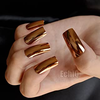 THE LONDON STORE Dark Golden Mirror Finish Chrome Artificial Nail Extension Ready Made 20 Pieces All Size Nails With Glue