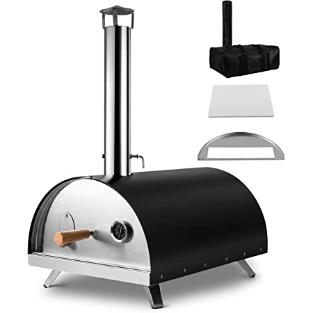 CHANGE MOORE Outdoor Pizza Oven, Portable Wood Pellet Burning Pizza Maker Ovens for Outside, Thermal Insulated Shell, One Free Carry Cover and Pizza Stone